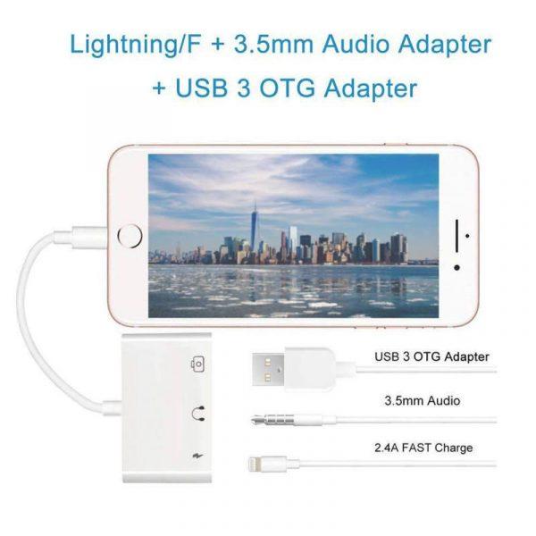 COTEetCI 3 in 1 Lightning OTG Music Adapter