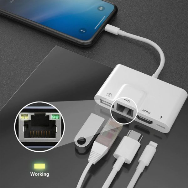 COTEetCI Lightning to 4in1 Lan RJ45 Network HDMI USB OTG Camera Charging Adapter