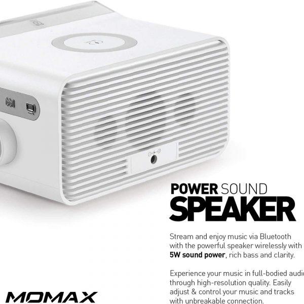 MOMAX Q.CLOCK2 Bluetooth Alarm Clock Speaker LED Display with Wireless Charging