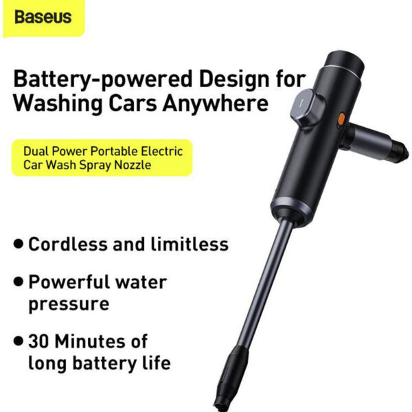BASEUS Dual Power Portable Electric Car Wash Spray Nozzle for Cleaning Car Wash
