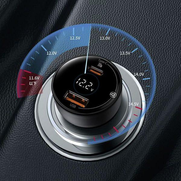 BASEUS Superme Digital Display PPS Dual Quick Charger U+C Car Charger