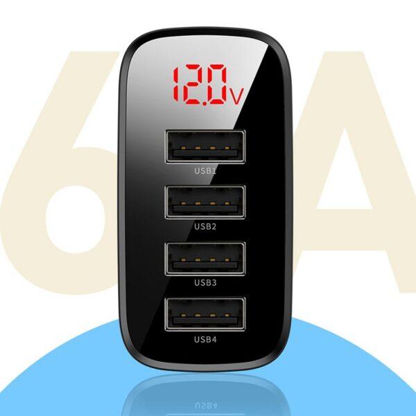 Baseus 30W Mirror Lake Digital Display 4USB Travel Charger