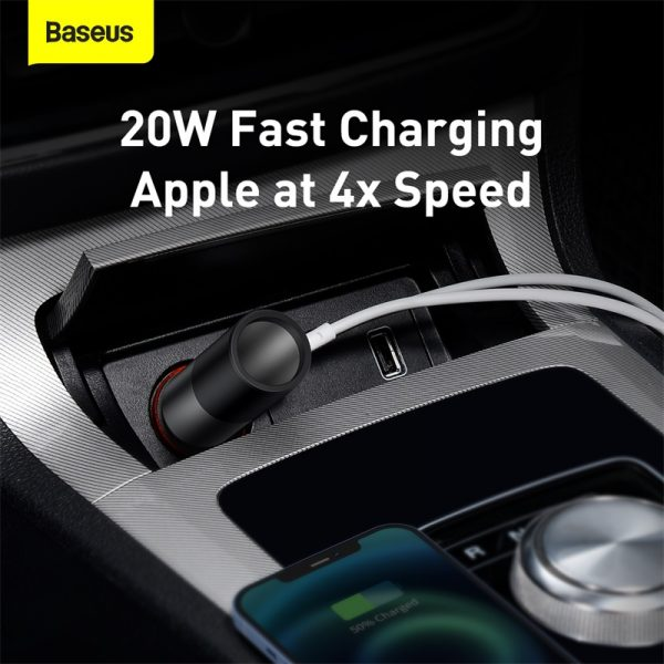 Baseus USB+Type-C 120W Share Together Fast Car Charger with Cigarette Lighter Expansion Port