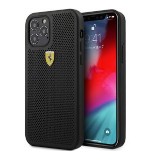 SCUDERIA FERRARI PU LEATHER CASE WITH PERFORATED STYLE FOR IPHONE 12 SERIES