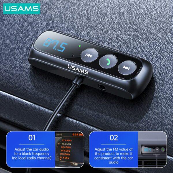 USAMS US-SJ503 USB Spring Cable Car FM Bluetooth Digital Audio Adapter