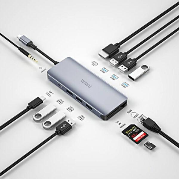 WiWU Alpha 12-in-1 Type C Hub Multiple Function Adapter