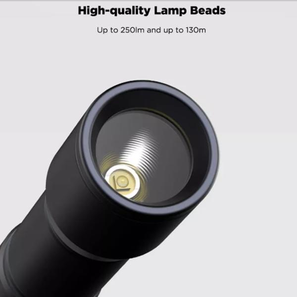 BEEBEST 130m Lightweight AAA EDC Flashlight Waterproof SOS Portable Mini Torch