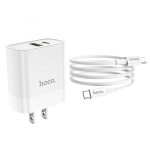 hoco. C80 18W Rapido PD + QC3.0 Fast Charging Adapter With Type-C to Type-C Data Cable