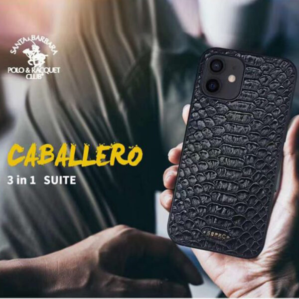 Santa Barbara Polo & Racquet Club 3 in 1 Classic Leather Snake Skin Pattern Case for iPhone 12 Series