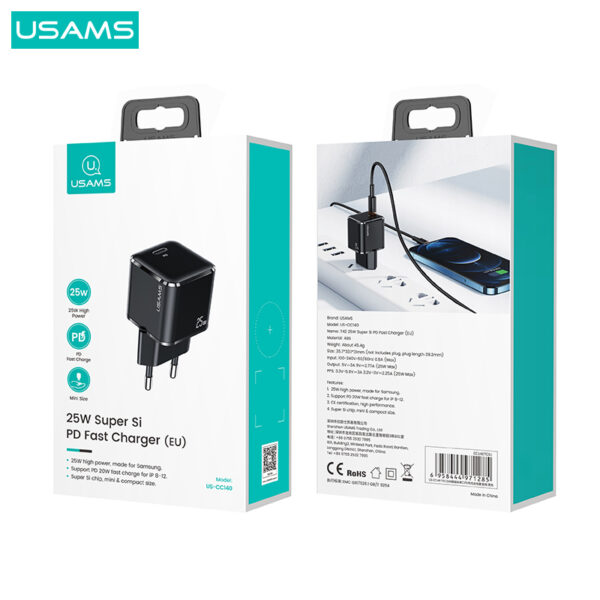 Usams US-CC140 T42 25W Super Si PD Fast Charger with Type-C to Type-C Data Cable