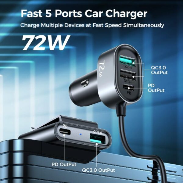 JOYROOM JR-CL05 5 Multi-Port QC3.0+PD Fast Car Charger Adapter 5ft Cable for FrontBack Seat Charging