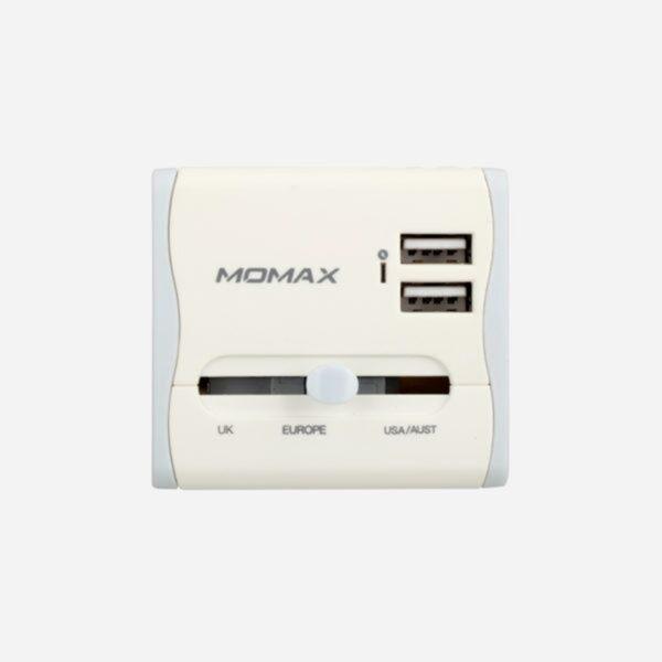 MOMAX 1-World Dual USB AC Travel Adapter Global Charging Socket