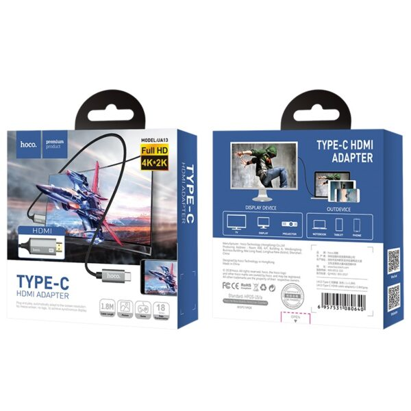 hoco. UA13 Nylon Braided Type-C to HDMI Cable Adapter